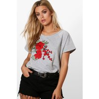 Hannah Floral Embroidered Sweat Top - grey