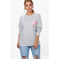 Alisa Flamingo Sweat Top - grey