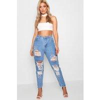 Nancy Boutique Gem Stone Rip Skinny Jean - blue