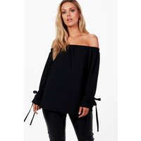Lauren Off The Shoulder Crepe Tie Sleeve Top - black