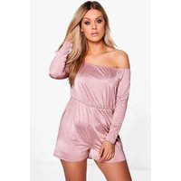 boohoo Poppy Off The Shoulder Slinky Playsuit - rose