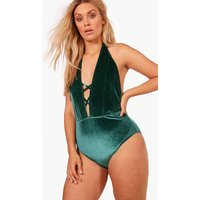 Gabriella Velvet Criss Cross Plunge Swimsuit - green