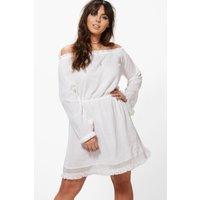 Tasha Crochet Lace Trim Skater Dress - white