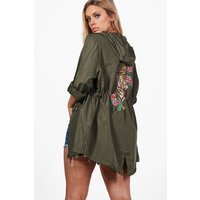 Lydia Printed Back Mac - khaki