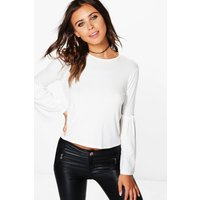 Darcey Ruffle Detail Bell Sleeve Top - ivory