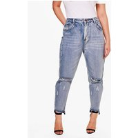 Alicia Ripped Light Wash Skinny Jean - blue