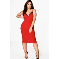 Libby Lace Detail Plunge Slinky Midi Dress - red