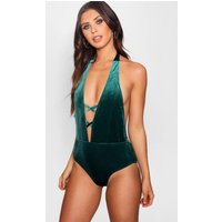 Harriet Velvet Criss Cross Plunge Swimsuit - green