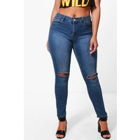 Hailey High Rise Slit Knee Skinny Jean - mid blue
