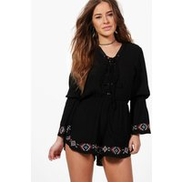 Petra Lace Up Detail Embroidered Playsuit - black