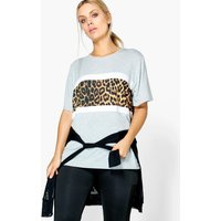Kiera Leopard Print Panel Sports Tee - multi