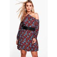Anya Open Shoulder Floral Shift Dress - berry