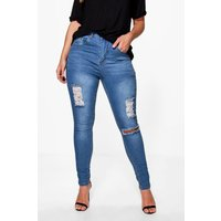 Niamh Distressed Knee Rip Skinny Jean - blue