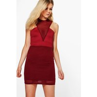 Carly Burn Out High Neck Bodycon Dress - berry