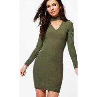Sadie Rib Knit Choker Dress - khaki