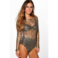 Lisa All Over Lace Bodysuit - gold
