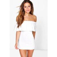 Polly Bandeau Frill Bardot Bodycon Dress - white