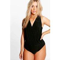 Tara Wrap Front Bodysuit - black