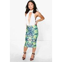 Corinna Floral Print Plunge Midi Dress - multi