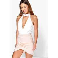 Millie Ruched Side Asymmetric Midi Skirt - nude