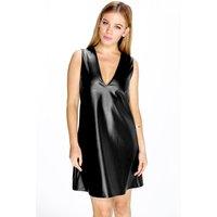 Sofia Plunge Neck PU Shift Dress - black
