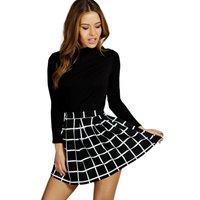 Erin Checked Box Pleat Skater Skirt - multi