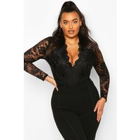 Molly Lace Long Sleeved Bodysuit - black