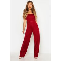 Bandeau Wide Leg Jumpsuit - berry