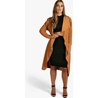 Belted Shawl Collar Coat - camel
