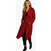 Belted Shawl Collar Coat - wine