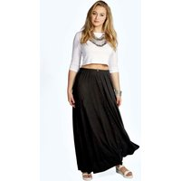 Button Through Maxi Skirt - black