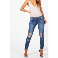 Loren Distressed Rip Knee Skinny Jeans - blue