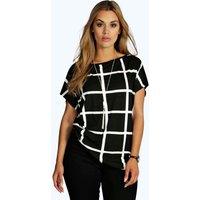 Grid Print Oversize Tee - multi