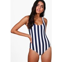 Nautical Stripe Scoop Swimsuit - navy