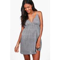 Gingham Strappy Beach Dress - black