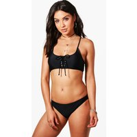Lace Up Bandeau Bikini - black