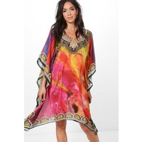 Embellished Printed Short Kaftan - multi