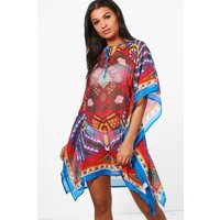 Geometric Beach Kaftan - blue