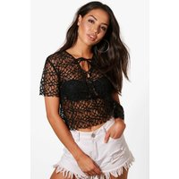 Lace Up Beach Top - black