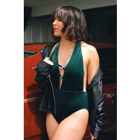 Boutique Velvet Criss Cross Plunge Swimsuit - green
