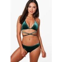 Boutique Velvet Strappy Triangle Bikini - green