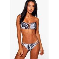 Marble Print Bandeau Bikini Top - multi