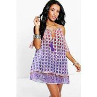 Ombre Tile Print Cold Shoulder Sun Dress - purple