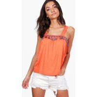 Gracie Tassle Trim Top - orange
