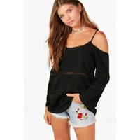 Emily Cold Shoulder Crochet Trim Top - black