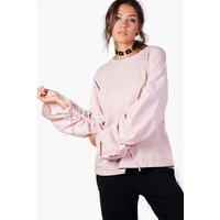 Milly Ruched Sleeve Oversized Top - camel