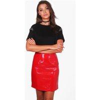 Taura Vinyl A Line Mini Skirt - red