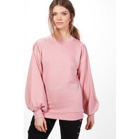 Balloon Sleeve Cut Out Back Sweater - pink