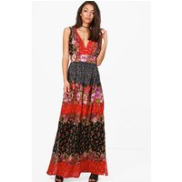Sofie Mixed Print Woven Maxi Dress - multi