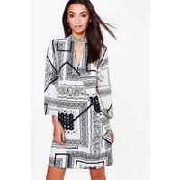 Aerin Mixed Print Woven Wrap Dress - multi